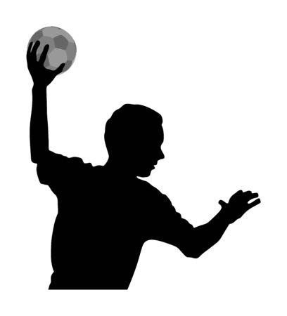 Handball player in action, attack shut in jumping vector silhouette illustration. Elegant body sport figure, boy black shadow. Dynamic athlete jump and shooting penalty in goal. Sport man handball.