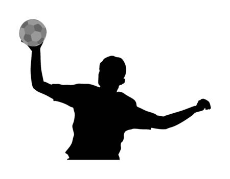 Handball player in action vector silhouette illustration isolated on white background. Woman handball player symbol. Handball girl jumping in the air. Handball (soccer) goalkeeper silhouette vector. Illustration