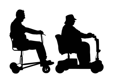 Senior couple on electric wheelchair vector silhouette illustration isolated on white background. Mature people on electric walker. Disabled person active life. Invalid grandmother and grandfather. Фото со стока - 129272613