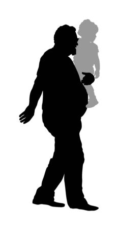 Grandfather and grandson indulge. Grandfather Carrying Grandson vector silhouette illustration. Fathers day. Family values. Little kid with grandpa. Girl love his granddad. Senior and junior walking.