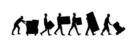 Lieferbote, der Kisten mit Warenvektorschattenbild trägt Postmann mit Paket. Vertriebsbeschaffung. Junge, der schwere Last für den Umzugsservice hält. Handlicher Mann in Bewegung. Handtransportmethode Vektorgrafik