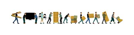 Delivery man carrying boxes of goods vector illustration. Post man with package. Distribution procurement. Boy holding heavy load for moving service. Handy man in move action. Hand transportation method