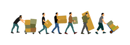 Delivery man carrying boxes of goods. Post man with package . Distribution and procurement. Boy holding heavy package for moving service. Handy man walking in move action. Hand transportation method. 版權商用圖片 - 119487042