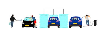 Car wash center vector illustration isolated white background. Boy taking care about car in washing service. Worker with compressor water gun clean. Pit stop cleaning vehicle. Man washing automobile. Foto de archivo - 129272624