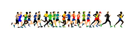Group of marathon racers running. Marathon people vector illustration. Healthy lifestyle women and man. Traditional sport race.  Urban runners on the street. Team building concept Worming up, work out Illustration