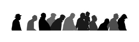Elderly seniors walking crowd vector silhouette isolated on white. Mature old people active life. Grandfather veterans company. Health care in nursing home. Senior meeting.