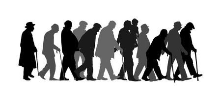 Elderly seniors walking crowd vector isolated on white . Old man person with stick silhouette. Mature old people active life. Grandfather veterans company. Health care in nursing home. Senior meeting. Ilustração