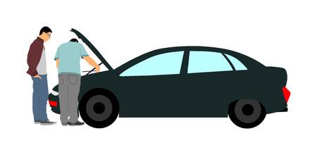 Accidente de coche roto en la carretera. Coche con capota abierta. Asistencia mecánica al cliente. Centro de reparación y servicio automotriz. problema de diagnóstico, compruebe el nivel de aceite en el motor. Concepto de seguro. Ayuda para viajar. Ilustración de vector