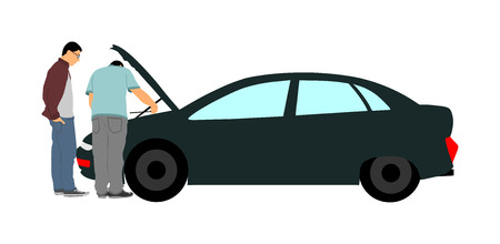 Broken car accident on road. Car with open hood. Mechanic assistance to customer. Auto service and repair center. diagnostic problem, check the oil level in engine. Insurance concept. Help for travel. Vektorové ilustrace