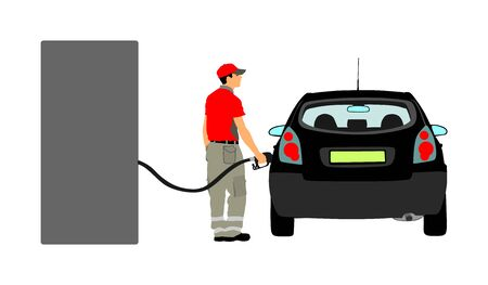 Worker on gas station fill the machine with fuel vector illustration. Car fill with gasoline. Gas station pump. Man filling gasoline fuel in car holding nozzle.Pumping gasoline fuel in vehicle. Stock Illustratie