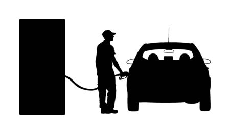 Worker on gas station fill the machine with fuel vector silhouette. Car fill with gasoline. Gas station pump. Man filling gasoline fuel in car holding nozzle.Pumping gasoline fuel in vehicle. Ilustração