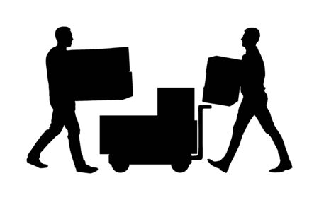 Delivery man carrying boxes of goods vector silhouette. Post man with package. Distribution storehouse. Boy holding heavy load for moving service. Handy man in move action. Hand transportation method by cart.