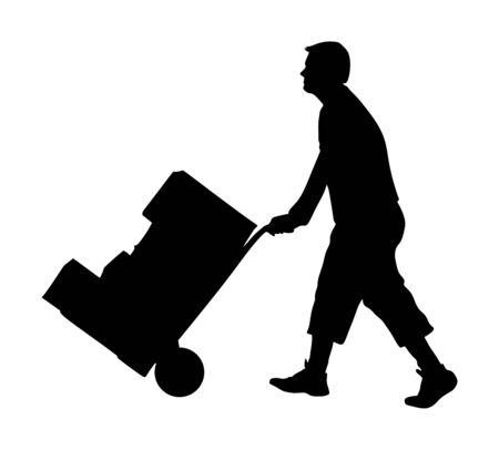 Hard worker pushing wheelbarrow and carry big box vector silhouette isolated on white background. Delivery man moving package  by cart. Service moving transport. Warehouse job activity. Distribution Stock Illustratie