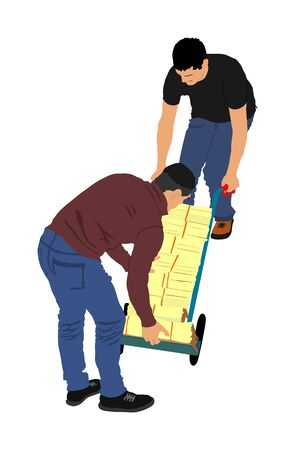 Delivery man carrying boxes of goods vector. Post man with package. Distribution storehouse. Boy holding heavy load for moving service. Handy man in move action. Hand transportation method by cart.