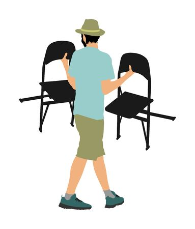 Delivery service moving transport, worker carrying chairs vector illustration. Handyman job. Distribution and procurement. Hipster boy moving after party. Move in. Man carry chair after concert event Vektorgrafik