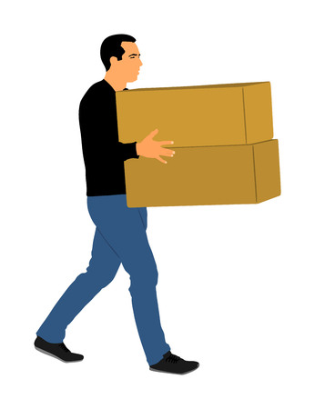 Delivery man carrying boxes of goods. Post man with package . Distribution and procurement. Boy holding heavy package for moving service. Handy man walking in move action. Hand transportation method. 版權商用圖片 - 119487058
