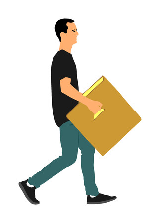 Delivery man carrying boxes of goods. Post man with package . Distribution and procurement. Boy holding heavy package for moving service. Handy man walking in move action. Hand transportation method. 向量圖像