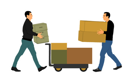 Delivery man carrying boxes of goods vector. Post man with package. Distribution storehouse. Boy holding heavy load for moving service. Handy man in move action. Hand transportation method by cart. 版權商用圖片 - 123770235
