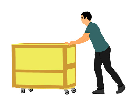 Delivery man carrying boxes of goods vector. Post man with package. Distribution procurement. Boy holding heavy load for moving service. Handy man in move action. Hand transportation method by cart. 版權商用圖片 - 123770243