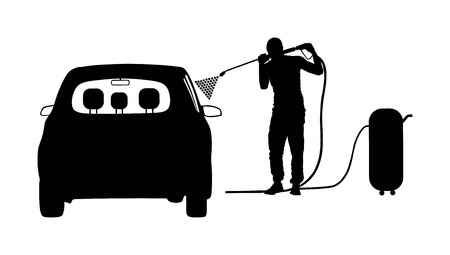 Car wash center vector silhouette isolated on white background. Boy taking care about car in washing service. Worker with compressor water gun clean. Pit stop cleaning vehicle. Man washing automobile.