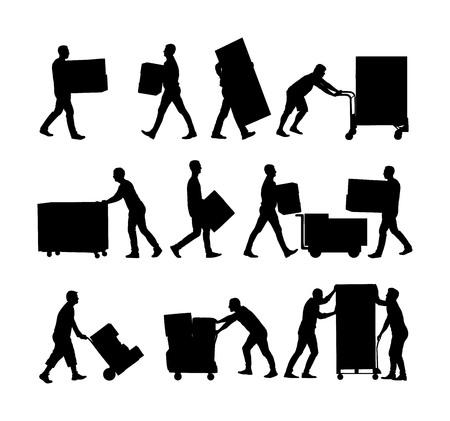 Levering man uitvoering dozen van goederen vector silhouet. Postman met pakket. Distributie inkoop. Jongen die zware last vasthoudt voor verhuisservice. Handige man in bewegingsactie. Hand transport methode: Vector Illustratie