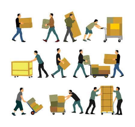 Repartidor llevando cajas de mercancías. Hombre de correos con paquete. Distribución y adquisición. Niño con paquete pesado para servicio de mudanza. Hombre práctico que camina en acción de movimiento. Método de transporte manual.