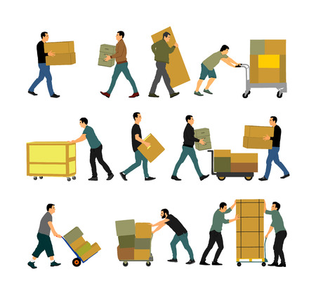 Delivery man carrying boxes of goods. Post man with package . Distribution and procurement. Boy holding heavy package for moving service. Handy man walking in move action. Hand transportation method. Illustration