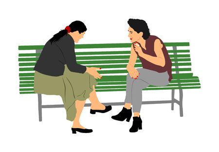 Women gossip at the break. Senior lady friends sitting on bench and talking in public park. Neighbors spread rumors vector. Backbite mature girls. Outdoor relaxation. Mothers speak about. 일러스트