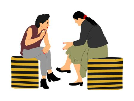 Women gossip at the break. Senior lady friends sitting on bench and talking in public park. Neighbors spread rumors vector illustration. Backbite mature girls. Outdoor relaxation. Mothers speak about. 일러스트