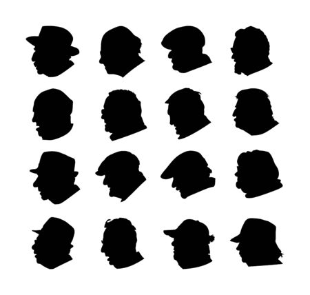 Set of senior people face profile vector silhouette isolated on white. Mature man and woman symbol. Grandfather and grandmother had sign. Hospital care retirement. Aged avatar sign collection. Citizen Illustration