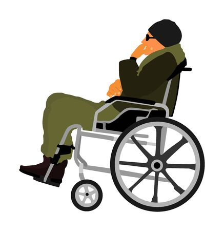 disabled man patient strolling in wheelchair vector illustration.  Patient in wheelchair isolated on white. Invalid injured man. Hospital activity rehabilitation after crash car. Strong will healt care