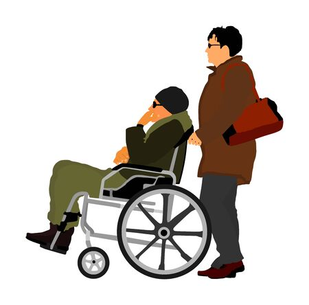 woman pushing strolling with disabled man patient in wheelchair vector illustration. Patient in wheelchair isolated on white. Nurse support injured man. Hospital paramedic Social worker activity.