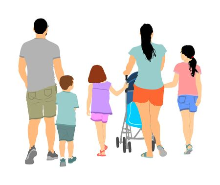 Happy big family enjoying holding hands vector illustration isolated on white. Fathers day. Mothers day. Dad, mom and baby in pram, daughters and son walking. Love and tenderness relaxation in public