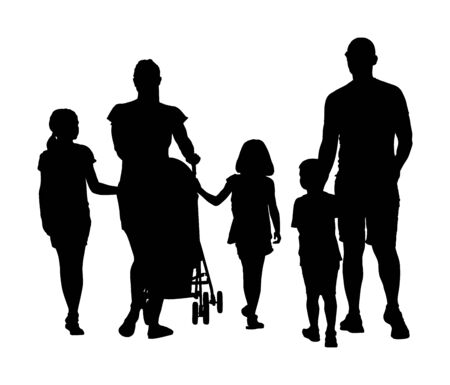 Happy big family enjoying holding hands vector silhouette isolated on white. Fathers day. Mothers day. Dad, mom and baby in pram, daughters and son walking. Love and tenderness relaxation in public 일러스트