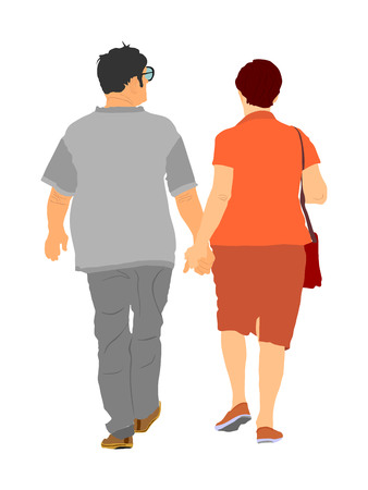 Happy elderly seniors couple hold hands vector illustration. Mature coupe in love together on white background. Grandmother and grandfather closeness in public. Golden age for travel and peace in soul Фото со стока - 123770187