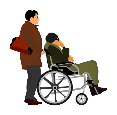 Woman social worker strolling with elder disabled patient man in wheelchair. Vector illustration of man in a wheelchair on a white background. Nurse support  immobile man outdoor . Hospital activity.