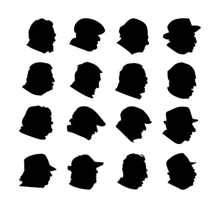 Satz ältere Leute stellen Profilvektorschattenbild gegenüber, das auf Weiß lokalisiert wird. Reifes Mann- und Frauensymbol. Großvater und Großmutter hatten Zeichen. Ruhestand im Krankenhaus. Sammlung von Avatar-Zeichen im Alter. Bürger