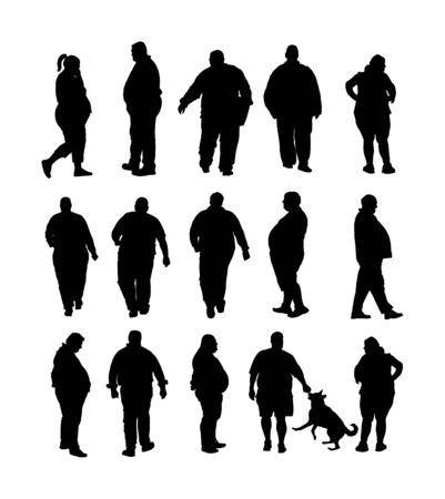 Dicker Mann zu Fuß im Gesundheitswesen Aktivität Vektor-Silhouette. Probleme mit Übergewicht. Großer Junge denkt an Essen. Schwierig beim Bewegen. Atemloser, verschwitzter, dicker Junge braucht eine Pause. Großer Bauch. Fettes Paar. Fette Frau Vektorgrafik
