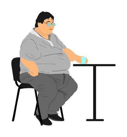 Fat man sitting and drinking in fast food restaurant. Worry about health. Overweight person trouble. Big boy think about food calorie vector. Difficulties in moving. Breathless sweaty man need break.
