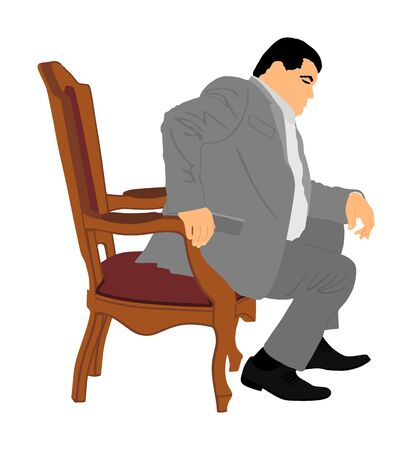 Confident leader, big mafia boss. Businessman sitting in chair in office vector illustration. Manager on meeting. man in suite. Overweight person sitting and resting. Director on duty. Politician man. Ilustração