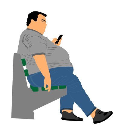 Fat man is worry about health vector isolated on white. Overweight person trouble. Big boy think about food calorie. Fat boy sitting on bench in park and ordering fast food by mobile phone. Giant man. 写真素材 - 129272663