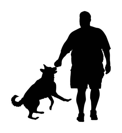 Fat man walking with dog vector silhouette. Health care outdoor activity. Overweight person trouble. German Shepherd running and playing with owner.Big boy think about food calorie. Difficult moving. Stock Vector - 129272662