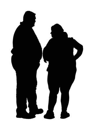 Fat man and woman is worry about health vector silhouette. Overweight person trouble. Big boy think about food calorie. Difficulties in moving. Breathless sweaty need break. Fat couple in love on date Иллюстрация