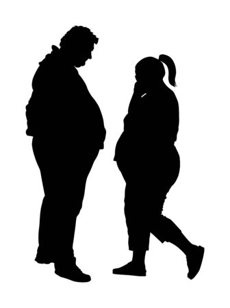 Fat man and woman is worry about health vector silhouette. Overweight person trouble. Big boy think about food calorie. Difficulties in moving. Breathless sweaty need break. Fat couple in love on date Illustration