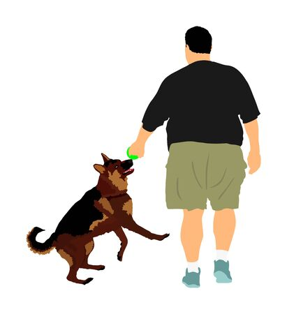 Fat man walking with dog playing vector. Health care outdoor activity. Overweight person trouble. German Shepherd running and playing with owner.Big boy think about food calorie. Difficult moving.