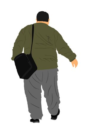 Fat man walking, health care outdoor activity vector illustration. Overweight person trouble.  Big boy think about food calorie. Difficulties in moving. Breathless sweaty man need break. Big belly. Vettoriali