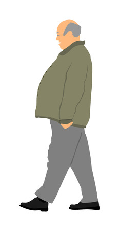 Fat man senior is worry about health, vector isolated on white background. Overweight person trouble with walking. Big old man think about food calorie. mature person active life.