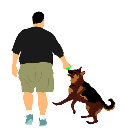 Fat man walking with dog vector illustration. Health care outdoor activity. Overweight person trouble. German Shepherd running and playing with owner.Big boy think about food calorie. Difficult moving