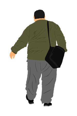 Fat man walking health care outdoor activity vector illustration. Overweight person trouble. Big boy think about food calorie. Difficult in moving. Breathless sweaty fat boy need break. Big belly.