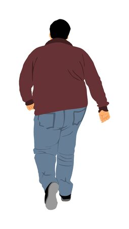 Fat man walking health care outdoor activity vector illustration. Overweight person trouble. Big boy think about food calorie. Difficult in moving. Breathless sweaty fat boy need break. Big belly. Vektorové ilustrace